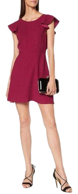 Item - Red Pink Back Ruffle Cap Sleeve Short Cocktail Dress Size 8 (M)