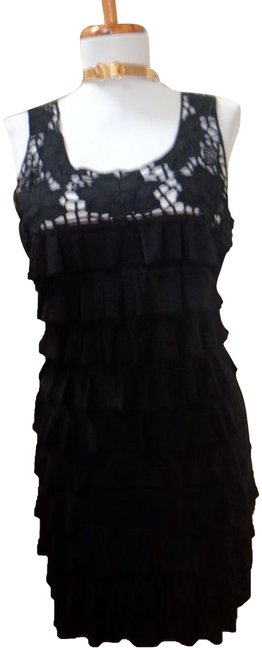 Item - Black Polyester/Spandex Blend Layered Short Night Out Dress Size 4 (S)