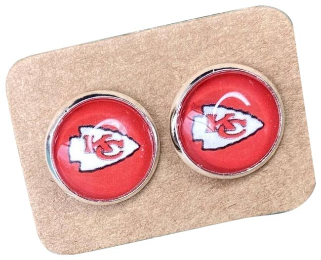 Item - Red Kansas City Chiefs Cabochon Stud Graphic Earrings