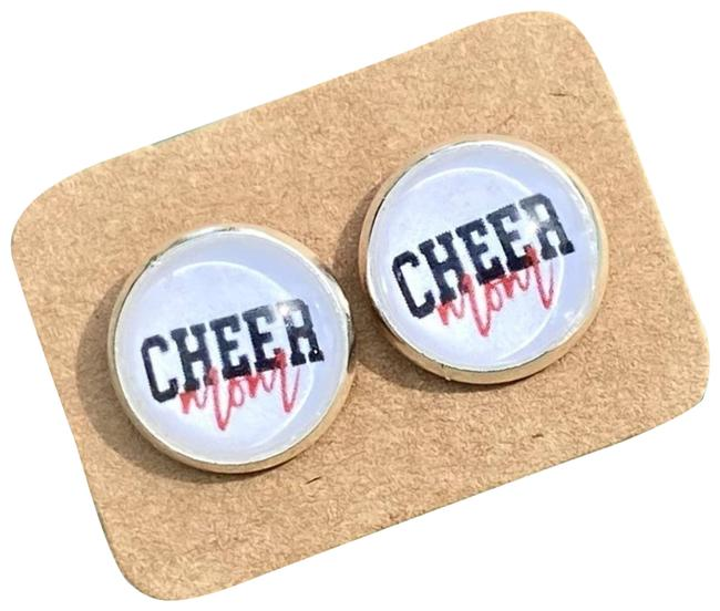 Item - Red Cheer Mom In Cabochon Stud Graphic Earrings