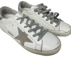 Golden Goose Deluxe Brand white and Silver Athletic