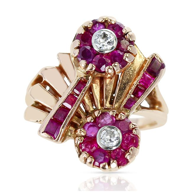 Item - 1940s Retro-style Ruby and Diamond Floral 14 Karat Yellow Gold Ring