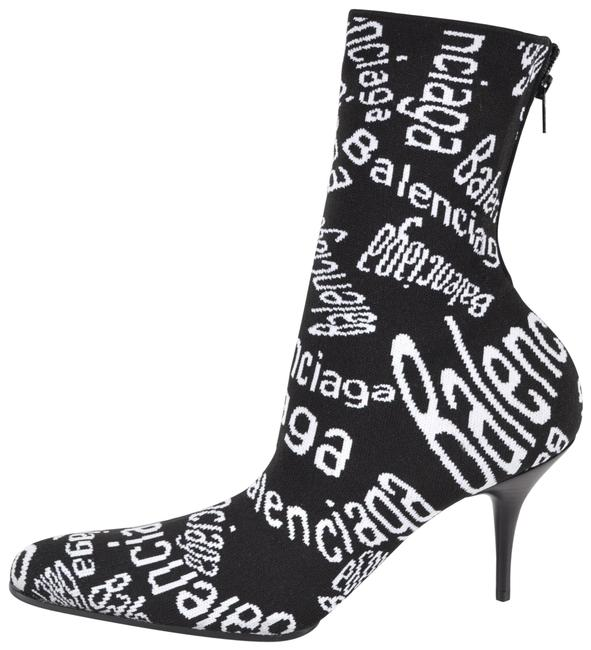 Item - Black/White Stretch Knit Curved Typo Ankle Boots/Booties Size EU 37.5 (Approx. US 7.5) Regular (M, B)