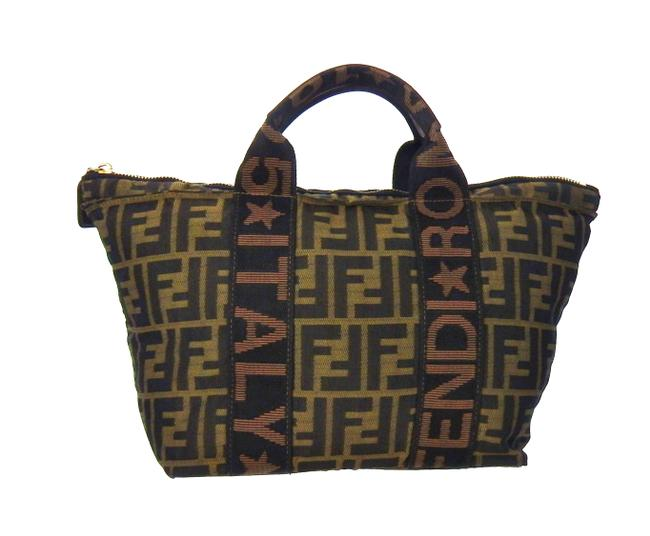Item - Vintage Zucca Monogram Top Handle Triangle Brown and Black Canvas Tote