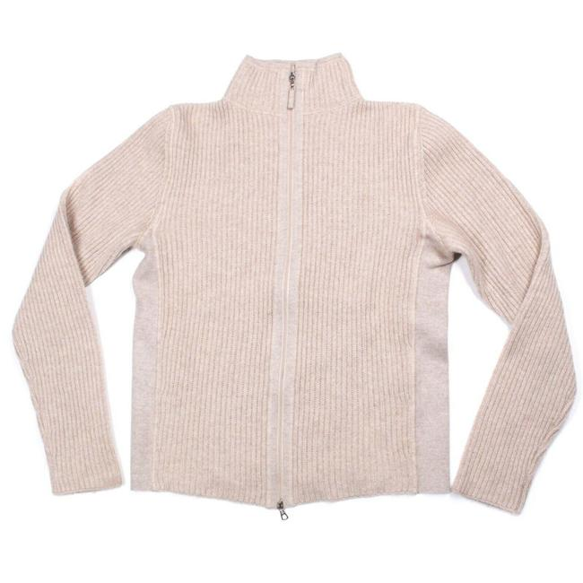 Item - Cashmere Jacket Ribbed Zip Women's Small S Light Tan / Beige Sweater