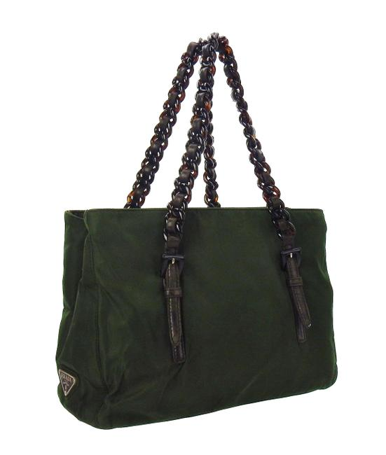 Item - Lucite Chain Green and Brown Tessuto Nylon Leather Shoulder Bag