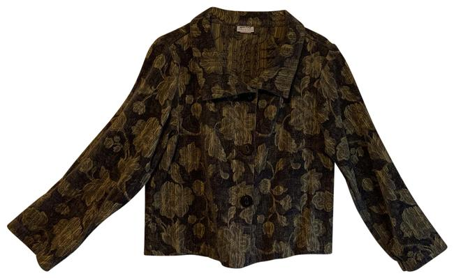 Item - Charcoal Dark Grey and Gold Floral Pattern Style# 6739 Blazer Size 12 (L)
