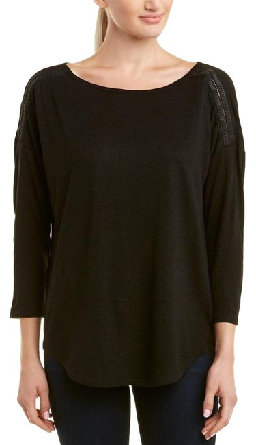 Item - Black Faux-leather Accent 3/4 Sleeve Linen-blend Tee Shirt Size 0 (XS)
