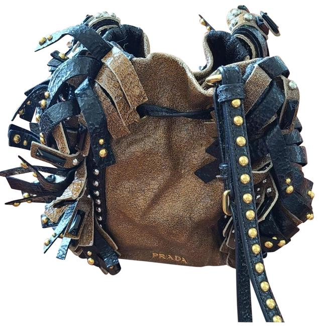 Item - Bucket Crackled Two Tone Brown and Black Leather Hobo Bag
