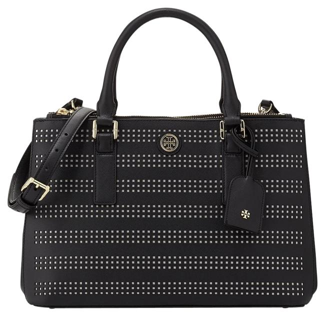 Item - Robinson Tote Bag Perforated Double Zip Black Leather Satchel