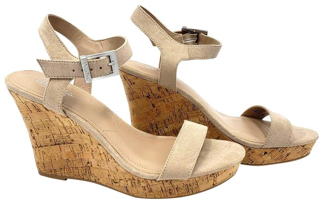 Item - Tan By Suede Cork Wedge Womens 9m Sandals Size US 9 Regular (M, B)