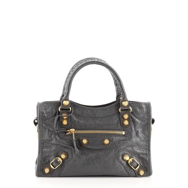 Item - City Giant Studs Mini Gray Leather Tote