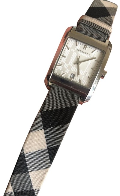 Item - Black Gray and White Stainless Steel Coated Canvas 20mm Watch