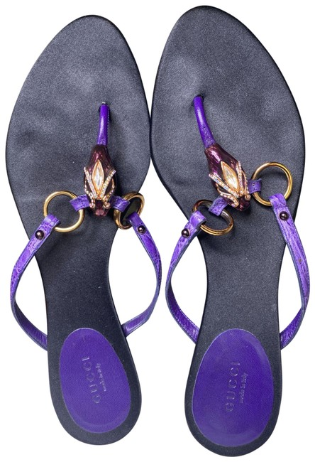 Item - Purple Crystal Snake Embossed Sandals Size EU 39.5 (Approx. US 9.5) Wide (C, D)