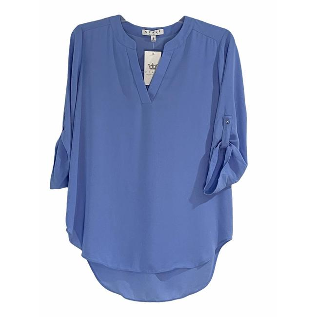 Item - Blue Tab Sleeve Small Blouse Size 6 (S)