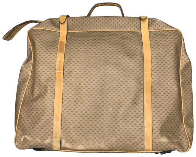 Item - Vintage ssima Soft Side Suitcase Tan Coated Canvas/Leather Weekend/Travel Bag