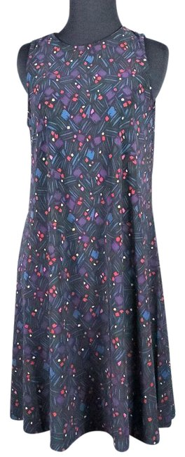 Item - Black Sleeves Keyhole Print Multi Color Knee Length Short Casual Dress Size 4 (S)