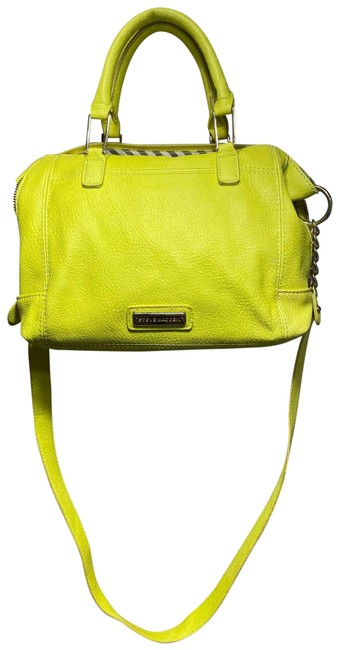 Item - Tote with Strap and Tassel Neon Yellow / Green Leather Cross Body Bag