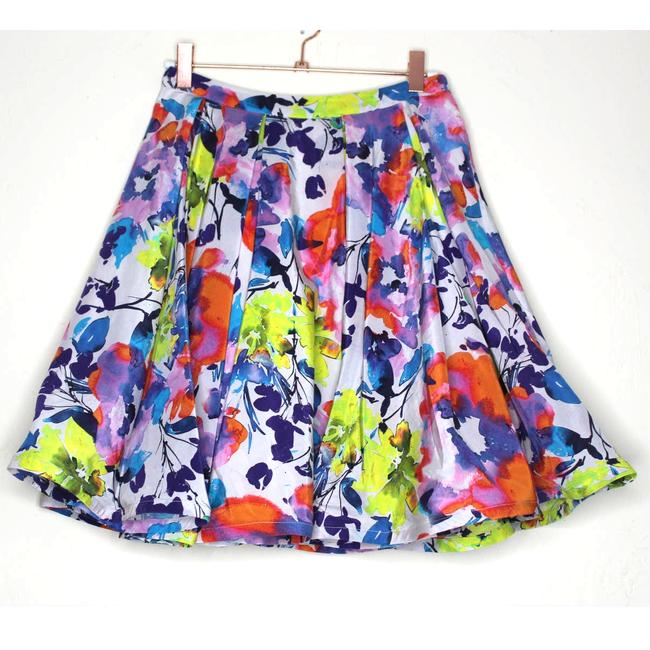 Item - White Floral Print Watercolor Silk Pleated Skater Skirt Size 4 (S, 27)
