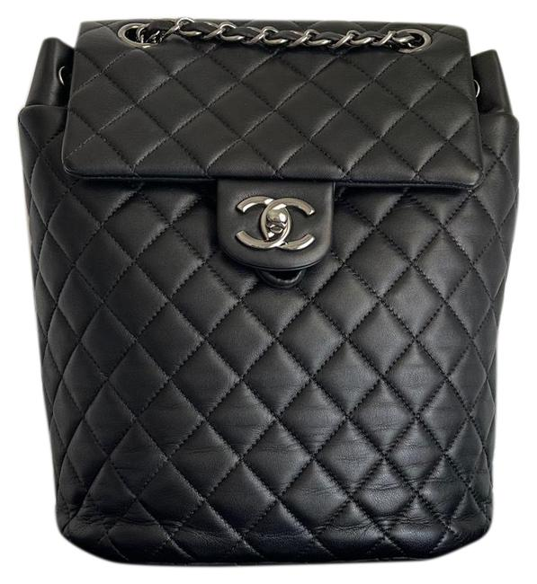 Item - Urban Spirit Small Quilted Black Silver Hardware Lambskin Leather Backpack
