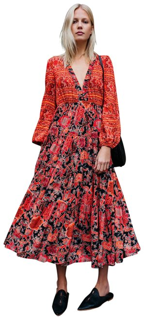 Item - Red Dove Sleeve Floral Pleated Long Casual Maxi Dress Size 8 (M)