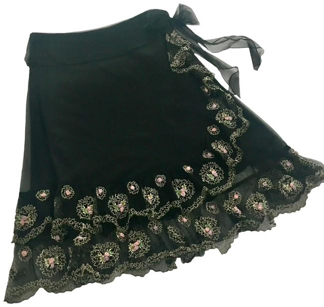Item - Black Odille Embroidered Rose Appliqués Tulle Faux-wrap Skirt Size 10 (M, 31)