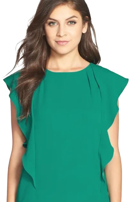 Item - Green Susi Teal Flutter Sleeve Shift Md Short Night Out Dress Size 8 (M)