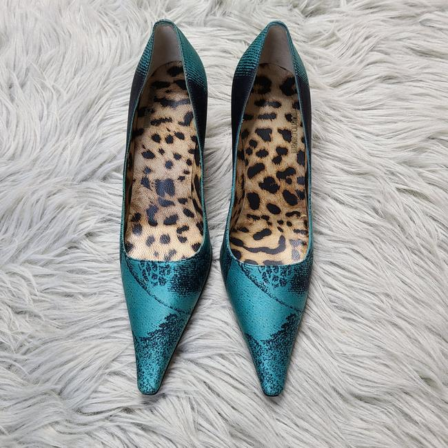 Item - Turquoise & Black Leather Pointed Pumps Size US 5 Regular (M, B)