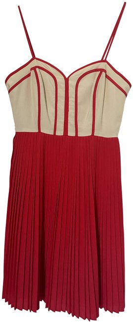 Item - Red/Cream Pleated Mid-length Cocktail Dress Size 0 (XS)