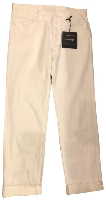 Item - White The Scrapper Ankle Cuff Fray Straight Leg Jeans Size 6 (S, 28)