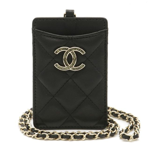 Item - Black Coco Mark Card Case with Quilting Chain Pass Lambskin Gold Hardware Wallet