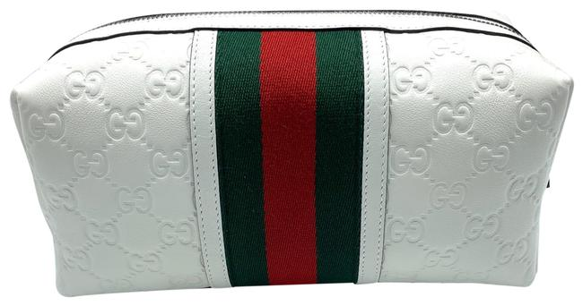 Item - White Toiletry Riva By ssima Embossed Leather Unisex Rare Limited Cosmetic Bag