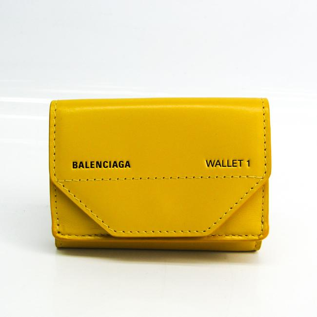 Item - Yellow Compact 529098 Unisex Leather (Tri-fold) Wallet
