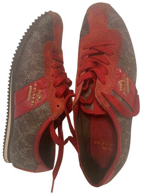 Item - Signature Brown/Red Ivy Red&brown Leather Sneakers Size US 6 Regular (M, B)
