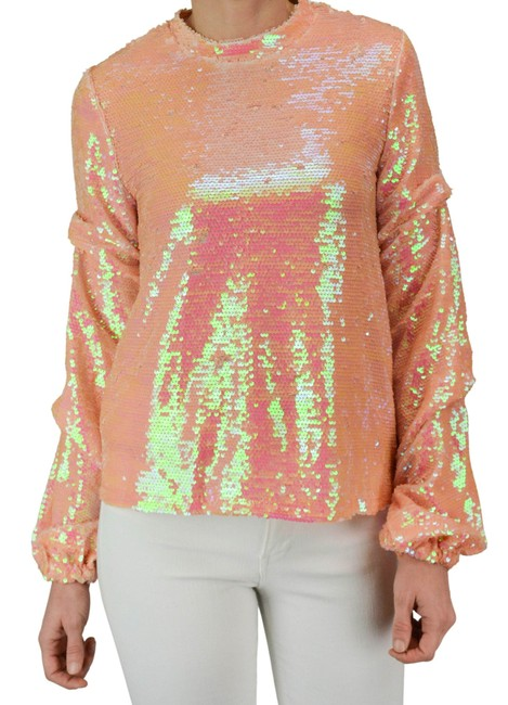 Item - Irridicent Pink Sequined Blouse Size 6 (S)