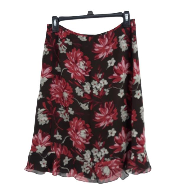 Item - Brown Silk Floral Ruffled Skirt Size 4 (S, 27)