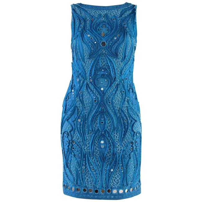 Item - Blue Embroidered Short Cocktail Dress Size 4 (S)