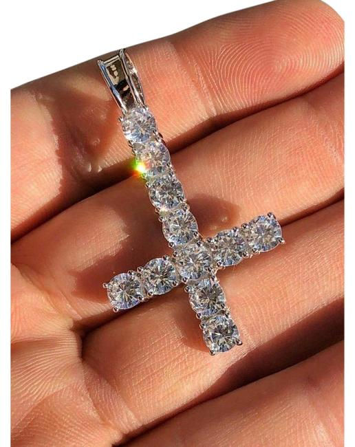 Item - Silver Inverted Cross Upside Down 925 Sterling Tennis Chain Diamond
