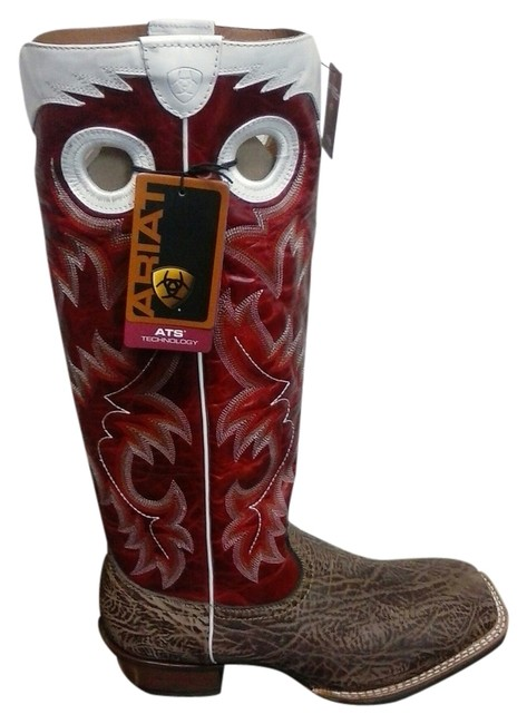 "Item - Dry Gulch/Red Glaze Mens 9.5d Brushrider 17"" Height Boots/Booties Size US 9.5 Wide (C, D)"
