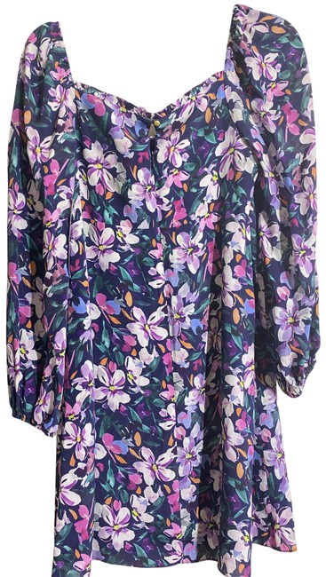 Item - Purple New Floral Msrp 375-450 Mid-length Short Casual Dress Size 4 (S)