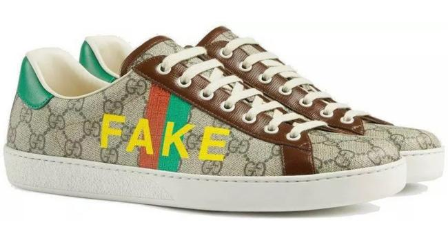 """Item - Beige Ebony Gg Supreme New Ladies """"Fake/Not"""" Canvas Leather Ace 37/7 Sneakers Size US 7 Regular (M, B)"""