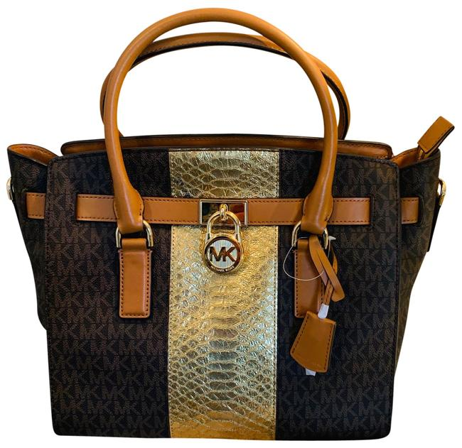 Item - Crossbody Brown and Gold Leather Satchel