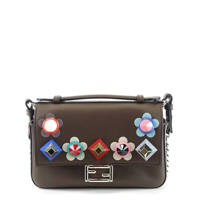 Item - Flowerland Double Baguette Embellished Micro Brown Leather Cross Body Bag