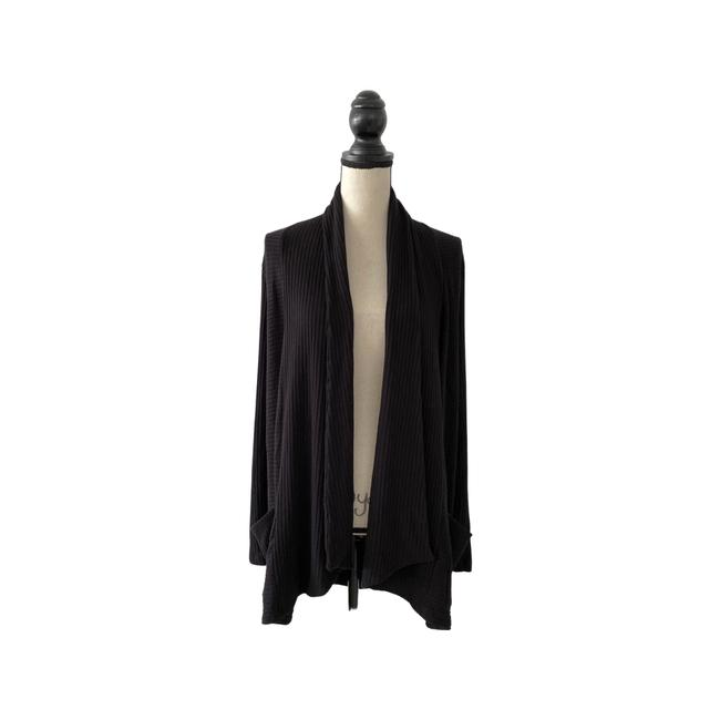 Item - Black L Open Ribbed Cardigan Size 12 (L)