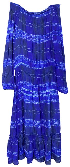 Item - Blue New Tie Dye Off The Shoulder Msrp 450 Long Casual Maxi Dress Size 4 (S)
