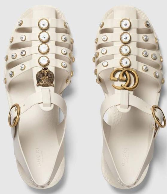 Item - Mystic White Marmont Women's New Gg Crystal Rubber Sandals Size EU 41 (Approx. US 11) Regular (M, B)