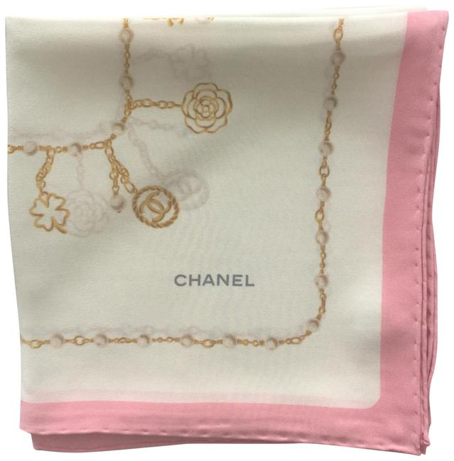 Item - Ivory/ Light Pink Gold Chains Print Georgette Silk Scarf/Wrap