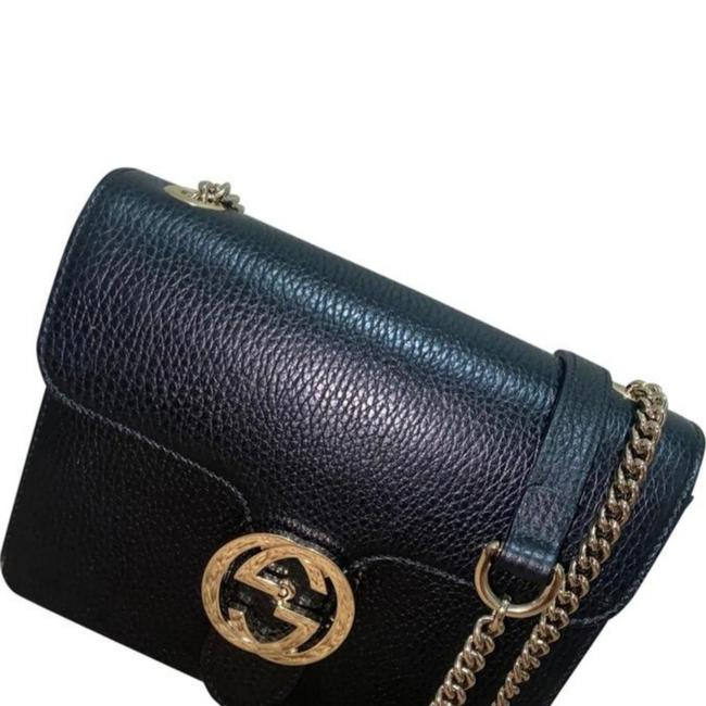 Item - Chain Black with Gold Hardware Leather Cross Body Bag