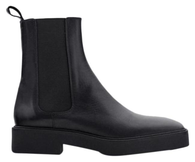 Item - Black Low Heel Square Toe Leather Ankle Boots/Booties Size US 7.5 Regular (M, B)