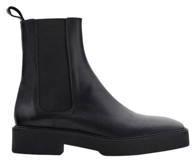 Item - Black Low Heel Square Toe Leather Ankle Boots/Booties Size US 8 Regular (M, B)